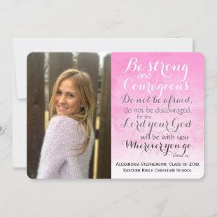 Pink Christian Bible Verse Custom Photo Graduation Announcement
