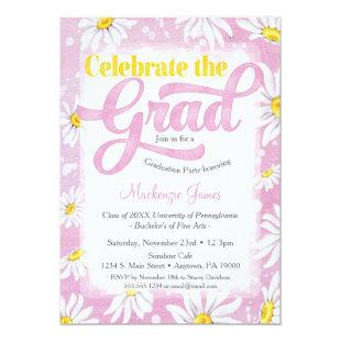 Pink Daisy Graduation Party Invitation Cute Floral