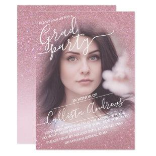 Pink Faux Sparkly Glitter Ombre Photo Graduation Invitation