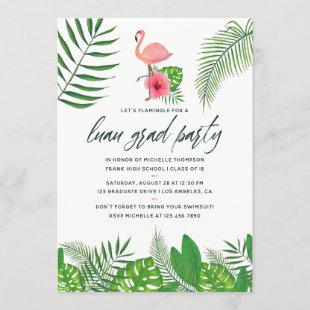Pink Flamingo Tropical Watercolor Luau Graduation Announcement