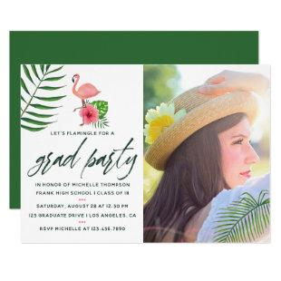 Pink Flamingo Tropical Watercolor Luau Graduation Invitation