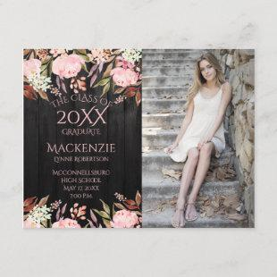 Pink Floral Black Barn Wood Photo Graduation Announcement