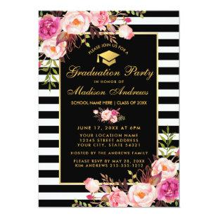 Pink Floral Gold Striped Graduation Party Invite