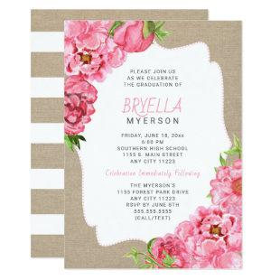 Pink Floral Graduation ceremony party invitations