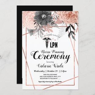 Pink Floral Graduation LPN Nurse Pinning Ceremony Invitation