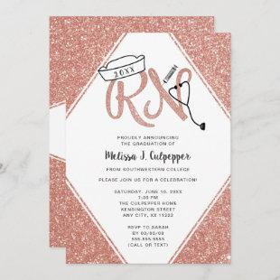 Pink Glitter RN graduation party or pinning invite