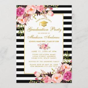 Pink Gold Floral Striped Graduation Party Invite