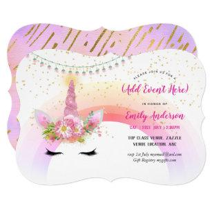 Pink Gold Unicorn Face Invitations ANY EVENT