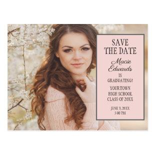 Pink Graduation Photo Save the Date Postcard