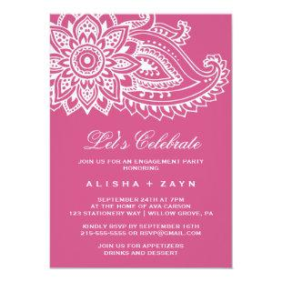 Pink Indian Paisley Let's Celebrate Invitation