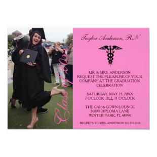 Pink Medical RN School Graduation Announcement