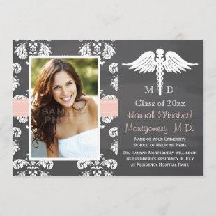PINK MEDICAL SCHOOL GRADUATION CHALKBOARD INVITATION