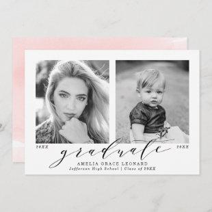 Pink | Now and Then Photo Graduation Party Invitation