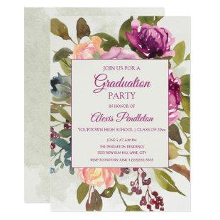 Pink Purple Sage Green Graduation Party Invitation
