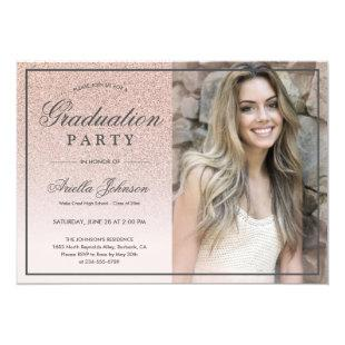 Pink Rose Gold Glitter ombre Graduation Party Invitation
