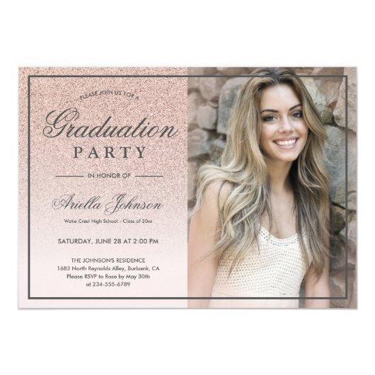 Pink Rose Gold Glitter ombre Graduation Party