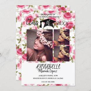 Pink Roses Floral Blooms Graduation Party 3 Photo Invitation