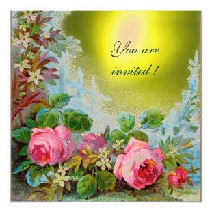 PINK ROSES & JASMINES ,Yellow Gem Stone Invitation