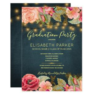 Pink roses navy gold lights graduation party invitation