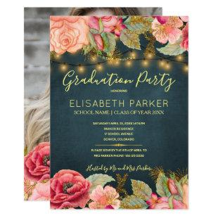 Pink roses navy gold lights PHOTO graduation party Invitation