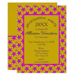 Pink Stars on Yellow Pattern Graduation Invitation