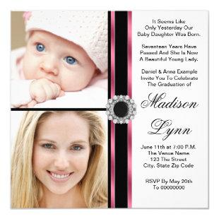 Pink Then and Now Photo Graduation Invitation