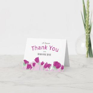 Pink Tulips Thank You Cards