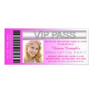 Pink VIP Pass Admission Ticket Graduation Party Invitation