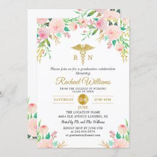 Pink Watercolor Floral RN Nurse Graduation Party Invitation
