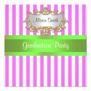Pink White Stripe Lime Ribbon Graduation Invite