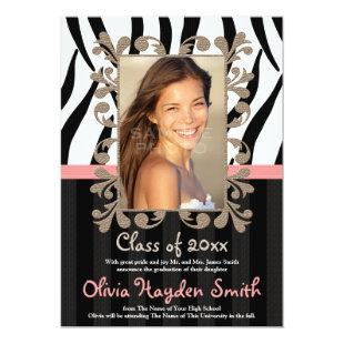 Pink Zebra Graduation Photo Announcement Invite