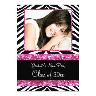 Pink Zebra Sparkle Girls Graduation Party Invitation