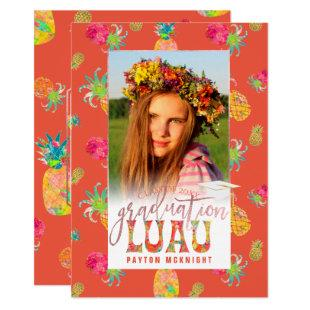 PixDezines Aloha Pineapples Graduation Luau Invitation