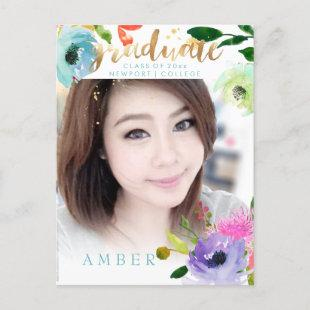 PixDezines Floral Watercolor Graduate photo Announcement Postcard