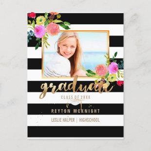 PixDezines Graduation/Floral Watercolor/Stripes Announcement Postcard
