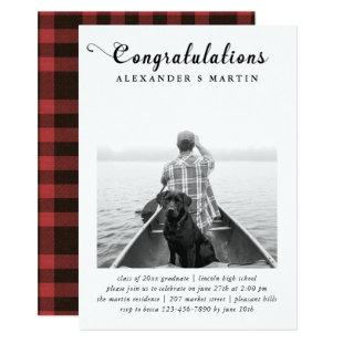 Plaid Graduation Party Photo Announcement
