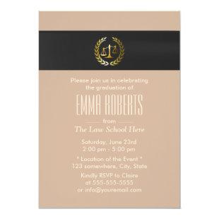 Plain Gold Justice Scale Law School Graduation Invitation