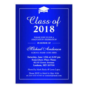 Plain Royal Blue Class Of 2020 Graduation Party Invitation