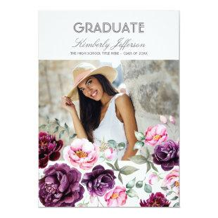 Plum Purple Floral Watercolor Photo Graduation Invitation