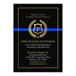 Police Graduation | Retirement Themed Monogram Invitation