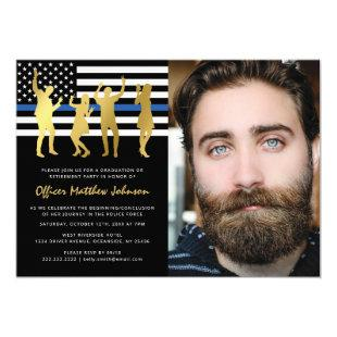 Police Party | Thin Blue Line Officer Photo Invitation