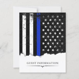 Police Style American Flag Party|Event Guest Info RSVP Card