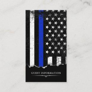 Police Style American Flag Party Mini Details Enclosure Card