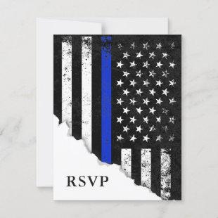 Police Styled American Flag White RSVP Reply
