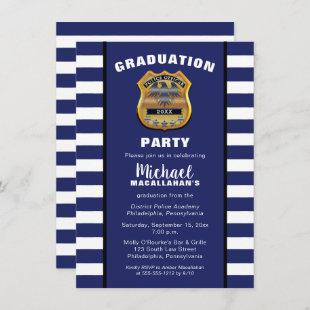 Policeman Police Badge Blue White Graduation Party Invitation