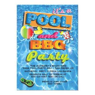 Pool and BBQ Party Invitations