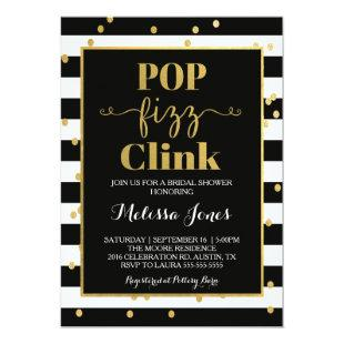 Pop Fizz Clink Black & Gold Invitation