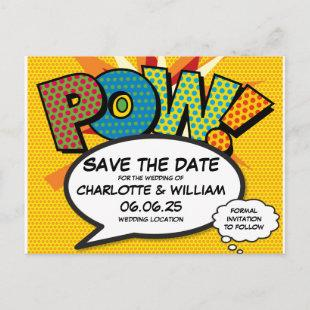 POW Save the Date Fun Retro Comic Book Pop Art Announcement Postcard