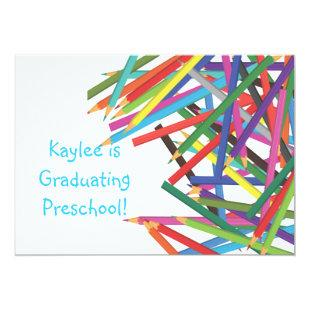 Preschool Kindergarten Graduation Colored Pencils Invitation