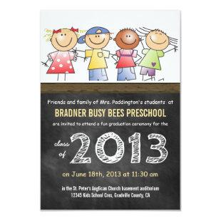 Preschool or Kindergarten Class Chalkboard Grad Invitation